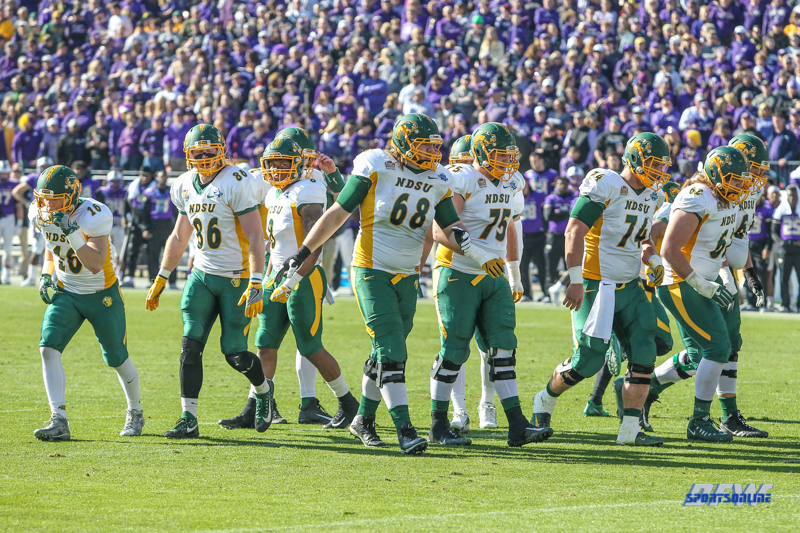 FRISCO, TX - JANUARY 6: North Dakota State offense during the NCAA FCS Championship football game between North Dakota State and James Madison on January 6, 2018 at Toyota Stadium in Frisco, TX. (Photo by George Walker/DFWsportsonline)
