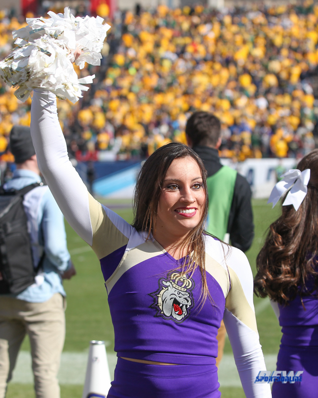 FRISCO, TX - JANUARY 6: James Madison cheerleader performs during the NCAA FCS Championship football game between North Dakota State and James Madison on January 6, 2018 at Toyota Stadium in Frisco, TX. (Photo by George Walker/DFWsportsonline)