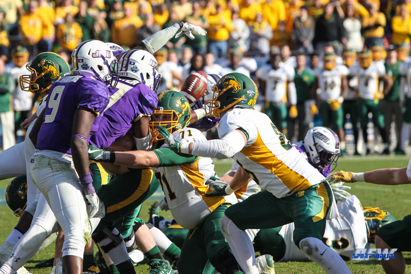 FRISCO, TX - JANUARY 6: James Madison blocks a field goal attempt during the NCAA FCS Championship football game between North Dakota State and James Madison on January 6, 2018 at Toyota Stadium in Frisco, TX. (Photo by George Walker/DFWsportsonline)