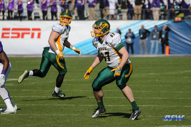 FRISCO, TX - JANUARY 6: North Dakota State Bison tight end Connor Wentz (87) runs a pass route during the NCAA FCS Championship football game between North Dakota State and James Madison on January 6, 2018 at Toyota Stadium in Frisco, TX. (Photo by George Walker/DFWsportsonline)