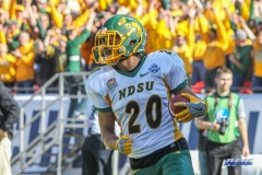 FRISCO, TX - JANUARY 6: North Dakota State Bison wide receiver Darrius Shepherd (20) scores a touchdown during the NCAA FCS Championship football game between North Dakota State and James Madison on January 6, 2018 at Toyota Stadium in Frisco, TX. (Photo by George Walker/DFWsportsonline)