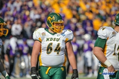 FRISCO, TX - JANUARY 06: North Dakota State Bison offensive tackle Colin Conner (64) lines up during the FCS National Championship game between North Dakota State and James Madison on January 6, 2018 at Toyota Stadium in Frisco, TX. (Photo by George Walker/Icon Sportswire)