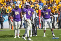 FRISCO, TX - JANUARY 06: James Madison defensive line checks the call during the FCS National Championship game between North Dakota State and James Madison on January 6, 2018 at Toyota Stadium in Frisco, TX. (Photo by George Walker/Icon Sportswire)