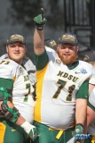 FRISCO, TX - JANUARY 06: North Dakota State Bison offensive tackle Luke Bacon (71) celebrates winning the FCS National Championship game between North Dakota State and James Madison on January 6, 2018 at Toyota Stadium in Frisco, TX. (Photo by George Walker/Icon Sportswire)