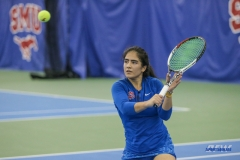 DALLAS, TX - JANUARY 13: Sarai Monarrez Yesaki during the SMU women's tennis match vs Wichita State on January 20, 2018, at the SMU Tennis Complex, Turpin Stadium & Brookshire Family Pavilion in Dallas, TX. (Photo by George Walker/DFWsportsonline)