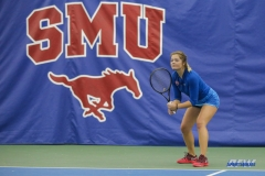 DALLAS, TX - JANUARY 13: Anzhelika Shapovalova during the SMU women's tennis match vs Wichita State on January 20, 2018, at the SMU Tennis Complex, Turpin Stadium & Brookshire Family Pavilion in Dallas, TX. (Photo by George Walker/DFWsportsonline)