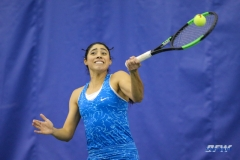DALLAS, TX - JANUARY 13: Ana Perez-Lopez hits a forehand during the SMU women's tennis match vs Wichita State on January 20, 2018, at the SMU Tennis Complex, Turpin Stadium & Brookshire Family Pavilion in Dallas, TX. (Photo by George Walker/DFWsportsonline)