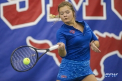 DALLAS, TX - JANUARY 13: Anzhelika Shapovalova hits a forehand during the SMU women's tennis match vs Wichita State on January 20, 2018, at the SMU Tennis Complex, Turpin Stadium & Brookshire Family Pavilion in Dallas, TX. (Photo by George Walker/DFWsportsonline)