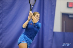 DALLAS, TX - JANUARY 13: Anzhelika Shapovalova hits a backhand during the SMU women's tennis match vs Wichita State on January 20, 2018, at the SMU Tennis Complex, Turpin Stadium & Brookshire Family Pavilion in Dallas, TX. (Photo by George Walker/DFWsportsonline)