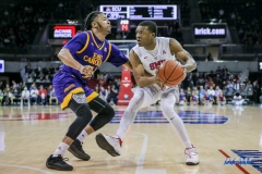 UNIVERSITY PARK, TX - JANUARY 28: East Carolina Pirates guard Shawn Williams (55) guards Southern Methodist Mustangs guard Jahmal McMurray (0) during the game between SMU and East Carolina on January 28, 2018 at Moody Coliseum in Dallas, TX. (Photo by George Walker/Icon Sportswire)
