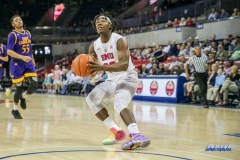 UNIVERSITY PARK, TX - JANUARY 28: Southern Methodist Mustangs guard Elijah Landrum (20) goes to the basket during the game between SMU and East Carolina on January 28, 2018 at Moody Coliseum in Dallas, TX. (Photo by George Walker/Icon Sportswire)