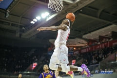 UNIVERSITY PARK, TX - JANUARY 28: Southern Methodist Mustangs guard Elijah Landrum (20) dunks during the game between SMU and East Carolina on January 28, 2018 at Moody Coliseum in Dallas, TX. (Photo by George Walker/Icon Sportswire)