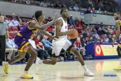 UNIVERSITY PARK, TX - JANUARY 28: Southern Methodist Mustangs guard Shake Milton (1) goes to the basket during the game between SMU and East Carolina on January 28, 2018 at Moody Coliseum in Dallas, TX. (Photo by George Walker/Icon Sportswire)