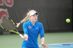 DALLAS, TX - February 03: Nicole Petchey during the SMU women's tennis match vs Texas A&M Corpus Christi on February 3, 2018, at the SMU Tennis Complex, Turpin Stadium & Brookshire Family Pavilion in Dallas, TX. (Photo by George Walker/DFWsportsonline)