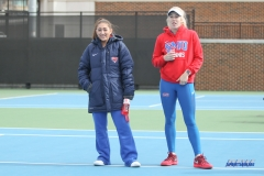 DALLAS, TX - February 03: Charline Anselmo and Nicole Petchey during the SMU women's tennis match vs Texas A&M Corpus Christi on February 3, 2018, at the SMU Tennis Complex, Turpin Stadium & Brookshire Family Pavilion in Dallas, TX. (Photo by George Walker/DFWsportsonline)
