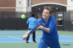 DALLAS, TX - February 03: Liza Buss during the SMU women's tennis match vs Texas A&M Corpus Christi on February 3, 2018, at the SMU Tennis Complex, Turpin Stadium & Brookshire Family Pavilion in Dallas, TX. (Photo by George Walker/DFWsportsonline)