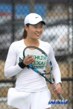 Denton, TX - February 3: Haruka Sasaki during the UNT Mean Green Women's Tennis dual match against the IOWA Hawkeyes on February 3, 2018 at the Waranch Tennis Complex in Denton, TX. (Photo by Mark Woods/DFWsportsonline)