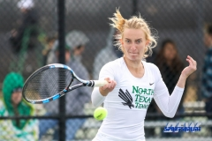 Denton, TX - February 3: Maria Kononova during the UNT Mean Green Women's Tennis dual match against the IOWA Hawkeyes on February 3, 2018 at the Waranch Tennis Complex in Denton, TX. (Photo by Mark Woods/DFWsportsonline)