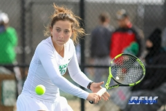 Denton, TX - February 3: Tamuna Kutubidze during the UNT Mean Green Women's Tennis dual match against the IOWA Hawkeyes on February 3, 2018 at the Waranch Tennis Complex in Denton, TX. (Photo by Mark Woods/DFWsportsonline)