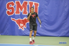 DALLAS, TX - FEBRUARY 4: Action during the SMU men's tennis match vs UTPB on February 4, 2018, at the SMU Tennis Complex, Turpin Stadium & Brookshire Family Pavilion in Dallas, TX. (Photo by George Walker/DFWsportsonline)