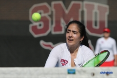 DALLAS, TX - FEBRUARY 4: Sarai Monarrez Yesaki hits a backhand volley during the SMU women's tennis match vs Iowa on February 4, 2018, at the SMU Tennis Complex, Turpin Stadium & Brookshire Family Pavilion in Dallas, TX. (Photo by George Walker/DFWsportsonline)