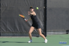 DALLAS, TX - FEBRUARY 4: Iowa player hits a forehand during the SMU women's tennis match vs Iowa on February 4, 2018, at the SMU Tennis Complex, Turpin Stadium & Brookshire Family Pavilion in Dallas, TX. (Photo by George Walker/DFWsportsonline)
