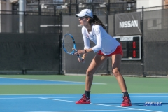 DALLAS, TX - FEBRUARY 4: Tiffany Hollebeck during the SMU women's tennis match vs Iowa on February 4, 2018, at the SMU Tennis Complex, Turpin Stadium & Brookshire Family Pavilion in Dallas, TX. (Photo by George Walker/DFWsportsonline)