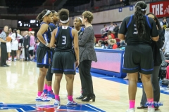 UNIVERSITY PARK, TX - FEBRUARY 07: Tulsa Golden Hurricane head coach Matilda Mossman talks to her players during the game between SMU and Tulsa on February 7, 2018, at Moody Coliseum in Dallas, TX. (Photo by George Walker/Icon Sportswire)