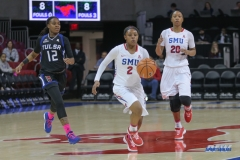 UNIVERSITY PARK, TX - FEBRUARY 07: Southern Methodist Mustangs guard Ariana Whitfield (2) brings the ball up court during the game between SMU and Tulsa on February 7, 2018, at Moody Coliseum in Dallas, TX. (Photo by George Walker/Icon Sportswire)