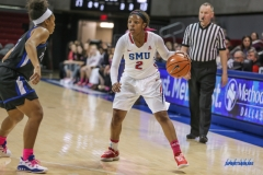 UNIVERSITY PARK, TX - FEBRUARY 07: Southern Methodist Mustangs guard Ariana Whitfield (2) dribbles during the game between SMU and Tulsa on February 7, 2018, at Moody Coliseum in Dallas, TX. (Photo by George Walker/Icon Sportswire)