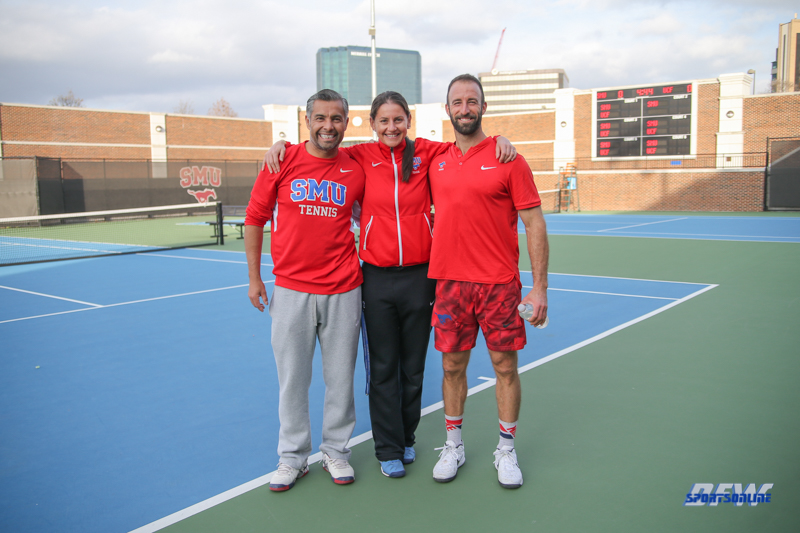 DALLAS, TX - FEBRUARY 09: SMU coaches during the SMU women's tennis match vs UCF on February 9, 2018, at the SMU Tennis Complex, Turpin Stadium & Brookshire Family Pavilion in Dallas, TX. (Photo by George Walker/DFWsportsonline)