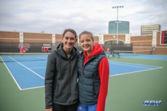 DALLAS, TX - FEBRUARY 09: Emma Pieroni and Liza Buss during the SMU women's tennis match vs UCF on February 9, 2018, at the SMU Tennis Complex, Turpin Stadium & Brookshire Family Pavilion in Dallas, TX. (Photo by George Walker/DFWsportsonline)