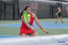 DALLAS, TX - FEBRUARY 09: Sarai Monarrez Yesaki during the SMU women's tennis match vs UCF on February 9, 2018, at the SMU Tennis Complex, Turpin Stadium & Brookshire Family Pavilion in Dallas, TX. (Photo by George Walker/DFWsportsonline)