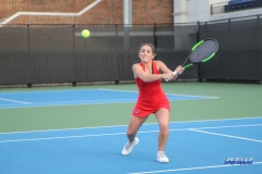 DALLAS, TX - FEBRUARY 09: Charline Anselmo hits a backhand during the SMU women's tennis match vs UCF on February 9, 2018, at the SMU Tennis Complex, Turpin Stadium & Brookshire Family Pavilion in Dallas, TX. (Photo by George Walker/DFWsportsonline)