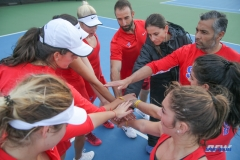 DALLAS, TX - FEBRUARY 09: SMU huddles the SMU women's tennis match vs UCF on February 9, 2018, at the SMU Tennis Complex, Turpin Stadium & Brookshire Family Pavilion in Dallas, TX. (Photo by George Walker/DFWsportsonline)