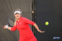 DALLAS, TX - FEBRUARY 09: Anzhelika Shapovalova hits a forehand during the SMU women's tennis match vs UCF on February 9, 2018, at the SMU Tennis Complex, Turpin Stadium & Brookshire Family Pavilion in Dallas, TX. (Photo by George Walker/DFWsportsonline)