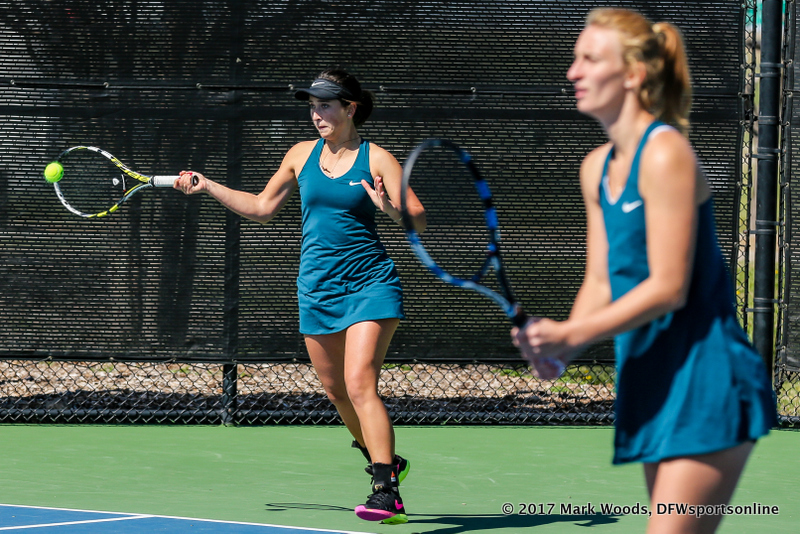 Tamuna and Maria Kononova during the women's tennis match between North Texas and Nevada on February 25, 2017 at Waranch Tennis Complex in Denton, TX. (Photo by Mark Woods/DFWsportsonline)