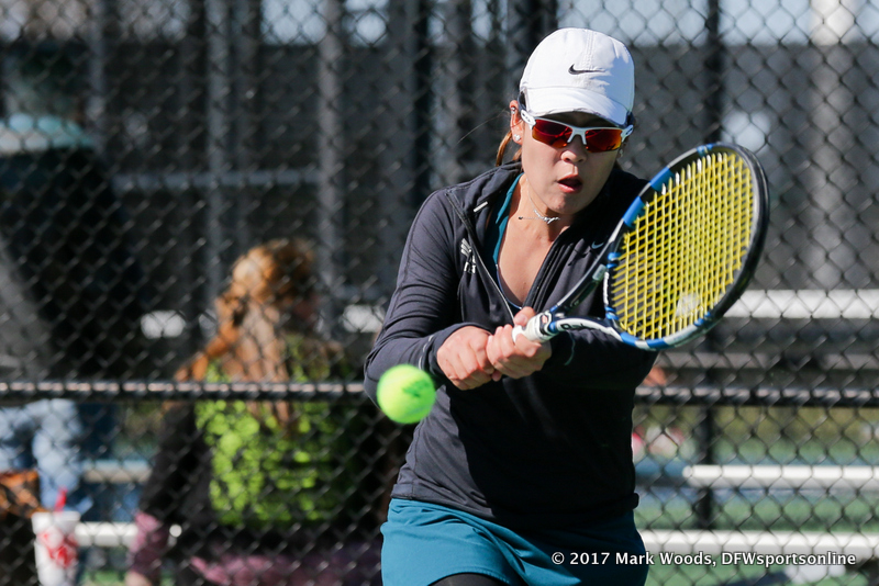 Minying Liang during the women's tennis match between North Texas and Nevada on February 25, 2017 at Waranch Tennis Complex in Denton, TX. (Photo by Mark Woods/DFWsportsonline)