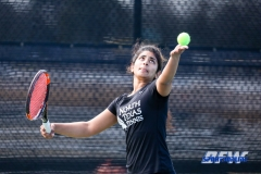 Denton, TX - February 25: Nidhi Surapaneni during the UNT Mean Green Women's Tennis dual match against the Marshall Thundering Herd at the Waranch Tennis Complex in Denton, TX. (Photo by Mark Woods/DFWsportsonline)