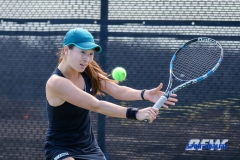 Denton, TX - February 25: Haruka Sasaki during the UNT Mean Green Women's Tennis dual match against the Marshall Thundering Herd at the Waranch Tennis Complex in Denton, TX. (Photo by Mark Woods/DFWsportsonline)