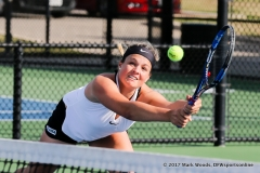 Alexandra Héczey during the doubles match between North Texas and Old Dominion on March 3, 2017 at Waranch Tennis Complex in Denton, TX.