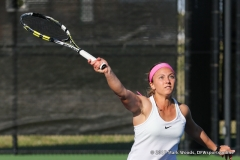 Alexis Thoma during the doubles match between North Texas and Old Dominion on March 3, 2017 at Waranch Tennis Complex in Denton, TX.