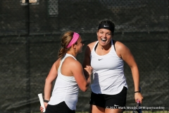 Thoma and Héczey at the conclusion of the #2 doubles match between North Texas and Old Dominion on March 3, 2017 at Waranch Tennis Complex in Denton, TX.