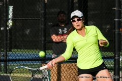 Minying Liang during the singles match between North Texas and Old Dominion on March 3, 2017 at Waranch Tennis Complex in Denton, TX.