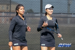 Denton, TX - March 7: Nidhi Surapaneni and Haruka Sasaki during the UNT Mean Green Women's Tennis dual match against the Middle Tennessee State University at the Waranch Tennis Complex in Denton, TX. (Photo by Mark Woods/DFWsportsonline)