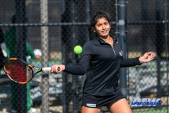 Denton, TX - March 7: Nidhi Surapaneni during the UNT Mean Green Women's Tennis dual match against the Middle Tennessee State University at the Waranch Tennis Complex in Denton, TX. (Photo by Mark Woods/DFWsportsonline)