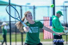 Denton, TX - March 7: Sille Tranberg at the UNT Mean Green Women's Tennis dual match against the Middle Tennessee State University at the Warch Tennis Complex in Denton, TX. (Photo by Mark Woods/DFWsportsonanline)