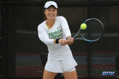 RANCHO MIRAGE, CA - MARCH 10: Haruka Sasaki during the North Texas tennis match vs Wichita State on March 10, 2018, at the Sunrise Country Club in Rancho Mirage, CA. (Photo by George Walker/DFWsportsonline)