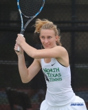 RANCHO MIRAGE, CA - MARCH 10: Maria Kononova during the North Texas tennis match vs Wichita State on March 10, 2018, at the Sunrise Country Club in Rancho Mirage, CA. (Photo by George Walker/DFWsportsonline)
