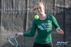 Denton, TX - March 15: Maria Kononova during the UNT Mean Green Women's Tennis dual match against Georgia State University at the Waranch Tennis Complex in Denton, TX. (Photo by Mark Woods/DFWsportsonline)